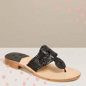 Jack Rogers The Jack Flat in Black and Tan size 7